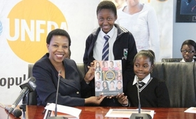 UNFPA Assistant Representative Mareledi Segotso launching SWOP Report at media briefing.PIC MORERI SEJAKGOMO